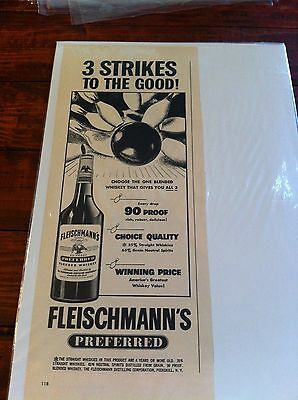 Vintage 1950 Fleischmann's Whiskey 3 Strikes To The Good Bowling Bowl Print ad