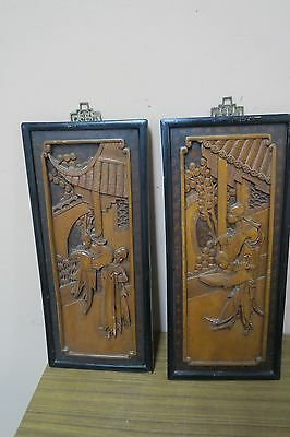 Pair @ 2 Antique Solid Wood Panel 3-D Sculptured Carving Asian Figures Chinese
