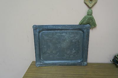 """Antique Arts & Crafts Pewter Tea Serving Tray 14"""" X 17"""" Oblong"""