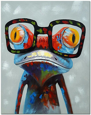 """Frog with Glasses - Hand Painted Colorful Animal Oil Painting On Canvas 16x20"""""""