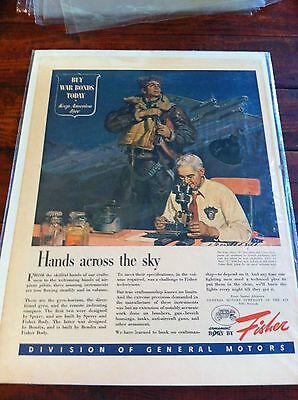 Vintage 1944 Fisher Hands Across The Sky B-17 Bomber Pilot WW II Print ad