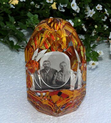 RARE Late 1800s Sulfide Frame Portrait Faceted Paperweight Crystal Glass Antique