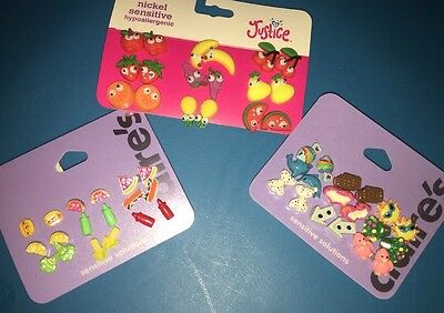 Justice Claire's Summer Fruit Emoji Fun Earrings Lot Ice Cream Hamburger Sun