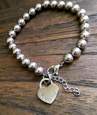 Stainless Steel Plain Ball Bead Bracelet Silver with Heart Charm Stamped Always
