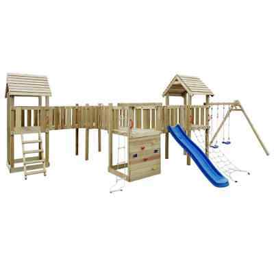 B#Wooden Playhouse Set with Ladders Slide Swings Kid Outdoor Garden Playground