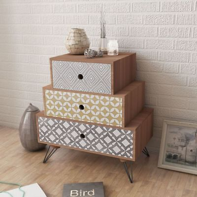 B#Bed Cabinet Bedside Table Side Cabinet Nightstand Chest with 3 Drawers Brown
