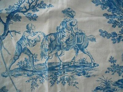 Toile de Jouy blue French antique fabric 18th-century