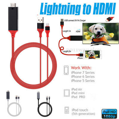 1/2M  Lightning to HDMI HDTV Adapter Cable 8 Pinfor iPhone 7 7 Plus 6s 6 Plus 5s