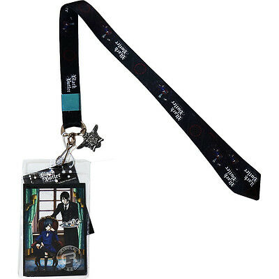 Black Butler Book of Circus Sebastian Ciel Lanyard ID Holder & Phantomhive Charm