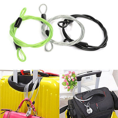 UK Bicycle Bike Cycle Double Loop Cable Lock Heavy Duty Security Safety Luggage