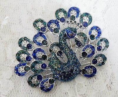 "Enameled Blue/Green/Silver Peacock Pin - 2"" tall x 2 1/2"" wide - Beautiful!"