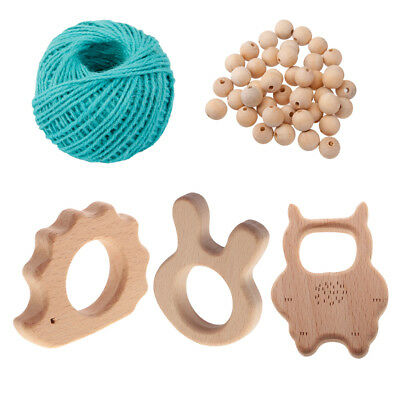 50pcs Wood Loose Beads Baby Teething Toys DIY Findings for Bracelet Necklace