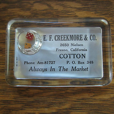 vintage E. F. CREEKMORE & CO. Fresno California COTTON Paperweight with DICE