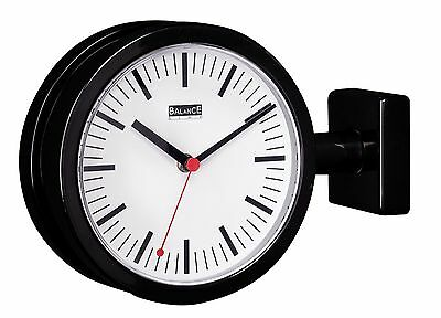 20cm Double Sided Black Metal Wall School Industrial Style Station Clock