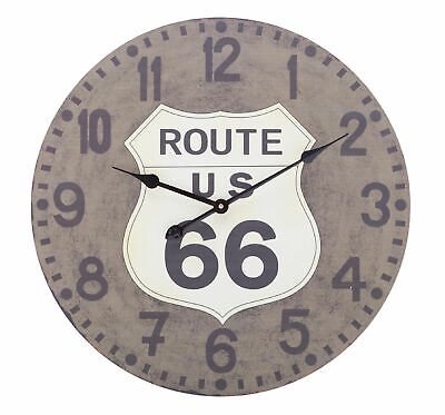 Shabby Chic Vintage Style 60cm Wall Clock Large Route 66 Kitchen Room House Home