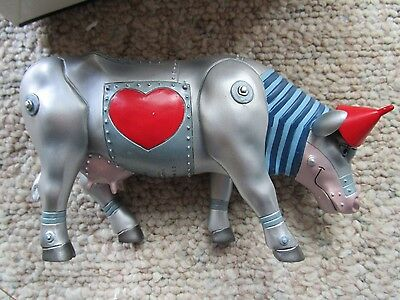 """Cow Parade Figurine """" Wizard of Oz """" Tin Man Cow - Retired with Box Tags 2002"""