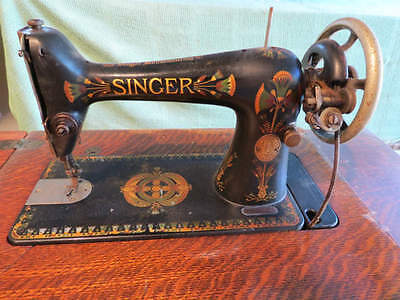Antique Singer Model 66K with Lotus Decals in its Original Treadle Stand