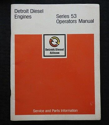1975 Detroit Diesel Series 53 Allison Engines Operators Parts Tune-Up Manual