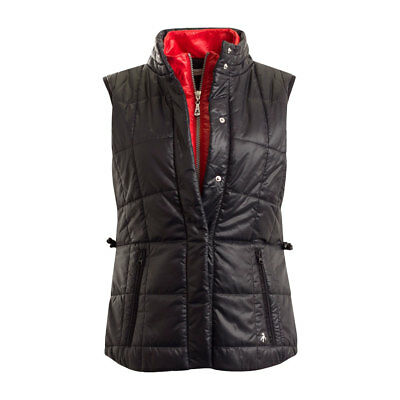 Green Lamb Windproof Quilted Gilet with Shaped Fit in Black/Red