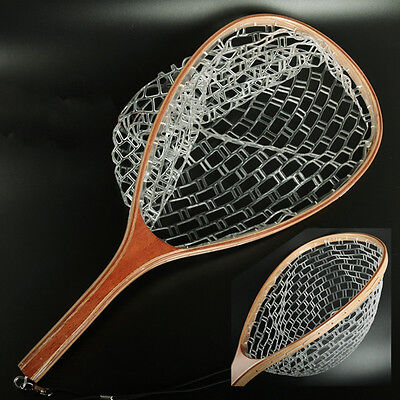 Wooden Handle Fly Fishing Landing Net Mesh Trout Rubber Catch Tackle & Release