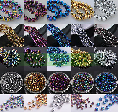 3/4/6/8/10/12mm Hematite Teardrop/Cube/Bicone/Rondelle/Round Faceted Glass Beads