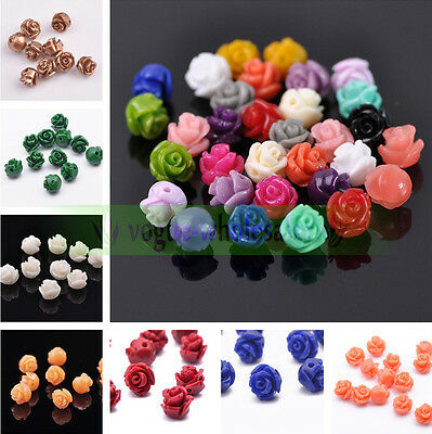 10/50pcs 8mm Resin Carved Rose Flower Jewelry DIY Charms Loose Spacer Beads New