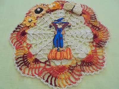 NEW Hand Crochet Doily Table Centerpiece FALL SCARECROW Flowers Butterfly