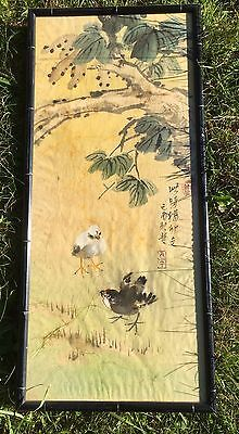 FINE CHINESE CALLIGRAPHY Baby Birds Poem SCROLL INK PAPER 2 RED SEAL on Silk