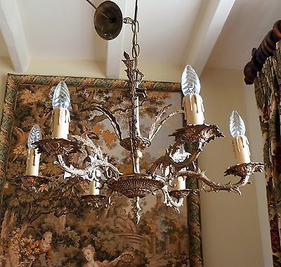 FABULOUS ANTIQUE VINTAGE 1940s 6 LAMP GILT BRASS FRENCH ROCOCO CHANDELIER LIGHT