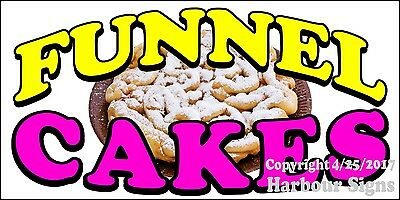 "Funnel Cakes Decal 10/"" Powdered Sugar Concession Food Truck Vinyl Menu Sign"