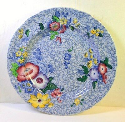 "Antique COPELAND SPODE WILD FLOWER 9"" LUNCHEON PLATE Blue With Colorful Flowers"