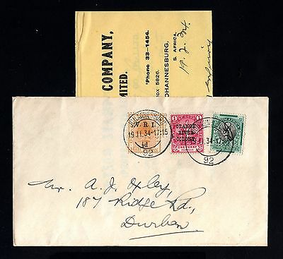 16160-ORANGE FREE STATE-OLD COVER JOHANNESBURG to DURBAN (south africa)1934.WWII