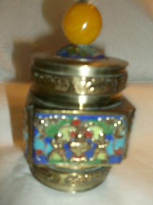 """ANTIQUE CHINESE CLOISONNE BRASS TRINKET JAR / BOX with lid 4 1/2"""" x 2 1/2"""""""