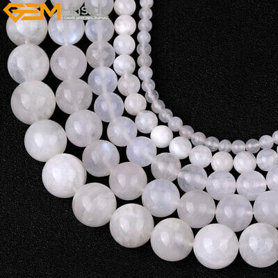 AAA Grade Genuine Natural Blue Rainbow Moonstone Gemstone Beads Jewelry Making