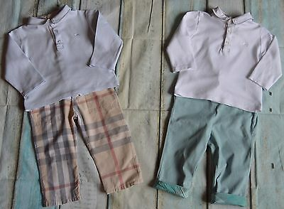 Burberry Baby Boys Designer Clothes Bundle 2 Collared Tops & Matching Pants Vgc