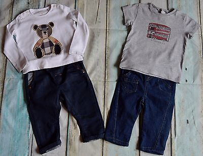 Burberry Baby Boys Designer Clothes Bundle 2 T-Shirts & High St Jeans 6-9 Months