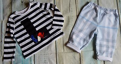 Burberry Baby Boys Designer Clothes Bundle Striped T-shirt & Reversible Pants