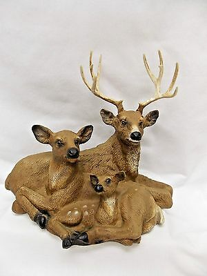 Deer Family Buck, Doe,Fawn Figurine Made of Resin Material in the USA Nice