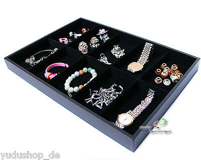 Presentation board Jewelry Charging Showcase with 10 Compartments black
