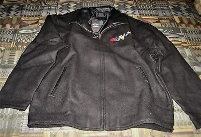 eBay RARE Men's Black Wool Jacket with Leather Collar-LARGE- yellow star-NEW