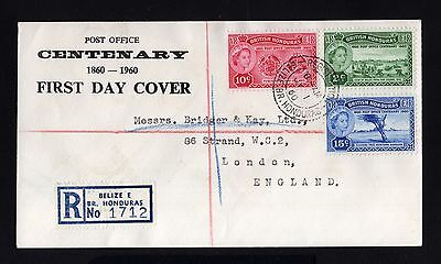 15875-BRITISH HONDURAS-FIRST DAY REGISTERED COVER BELIZE to LONDON (england)1960
