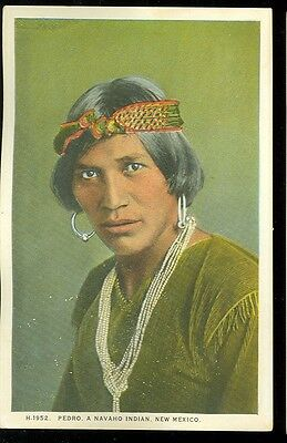 New Mexico, Navajo Indian Pedro (FRED HARVEY post card unposted (indiansA#602