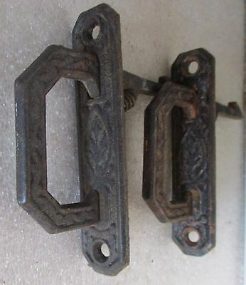 Pair  Victorian Eastlake Cupboard Cabinet Door Pulls Latch Spring Loaded Handle