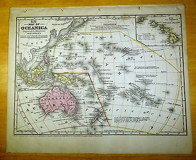 Antique Map OCEANICA 1852 US Hand-Colored MITCHELL Australia HAWAII