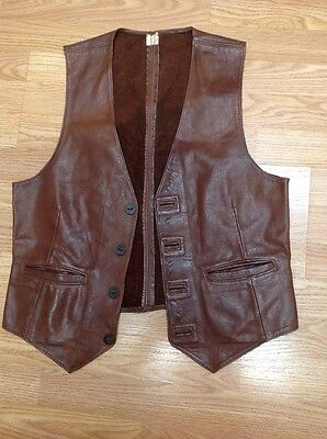 Mens Vintage Custom Western Leather Vest Brown Size 38 Button Front Distressed
