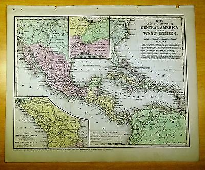 Antique Map MEXICO, CENTRAL AMERICA & WEST INDIES 1852 US Hand-Colored MITCHELL