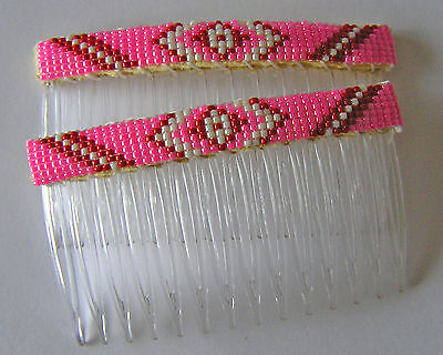 NICE, Handmade Beaded Hair Combs / Barrettes  Navajo Indian Earlene Nathaniel