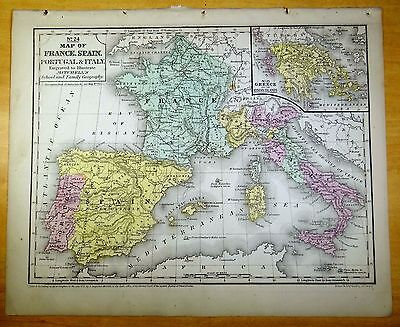 Map Of Spain Portugal And France.Antique Map France Spain Portugal Italy 1852 Us Hand Colored