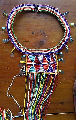 "Vintage African Maasai Masai Beaded Necklace Wedding Ceremonial Collar 44.5""!"