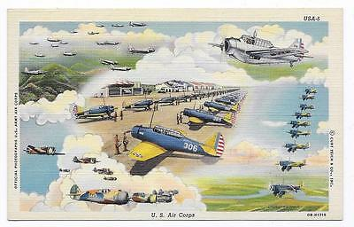 U. S. ARMY AIR CORPS Lots Of WWII Airplanes Unposted Linen Post Card #2001